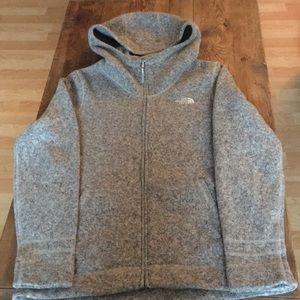 The North Face Tan & Gray knit fleece line jacket